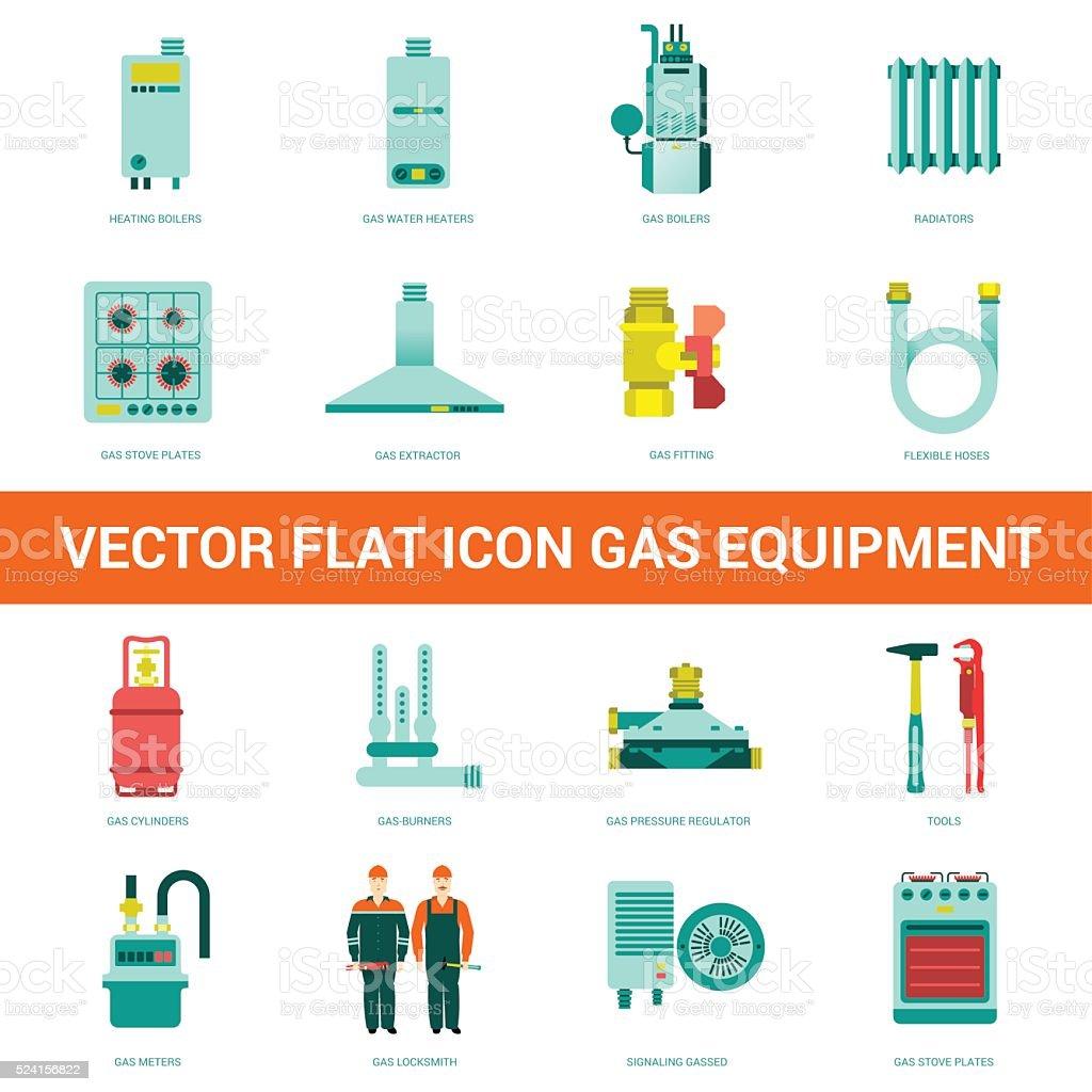 Vector flat icon gas equipment vector art illustration