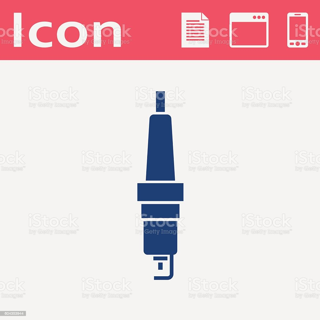 Vector flat icon of spark-plug vector art illustration