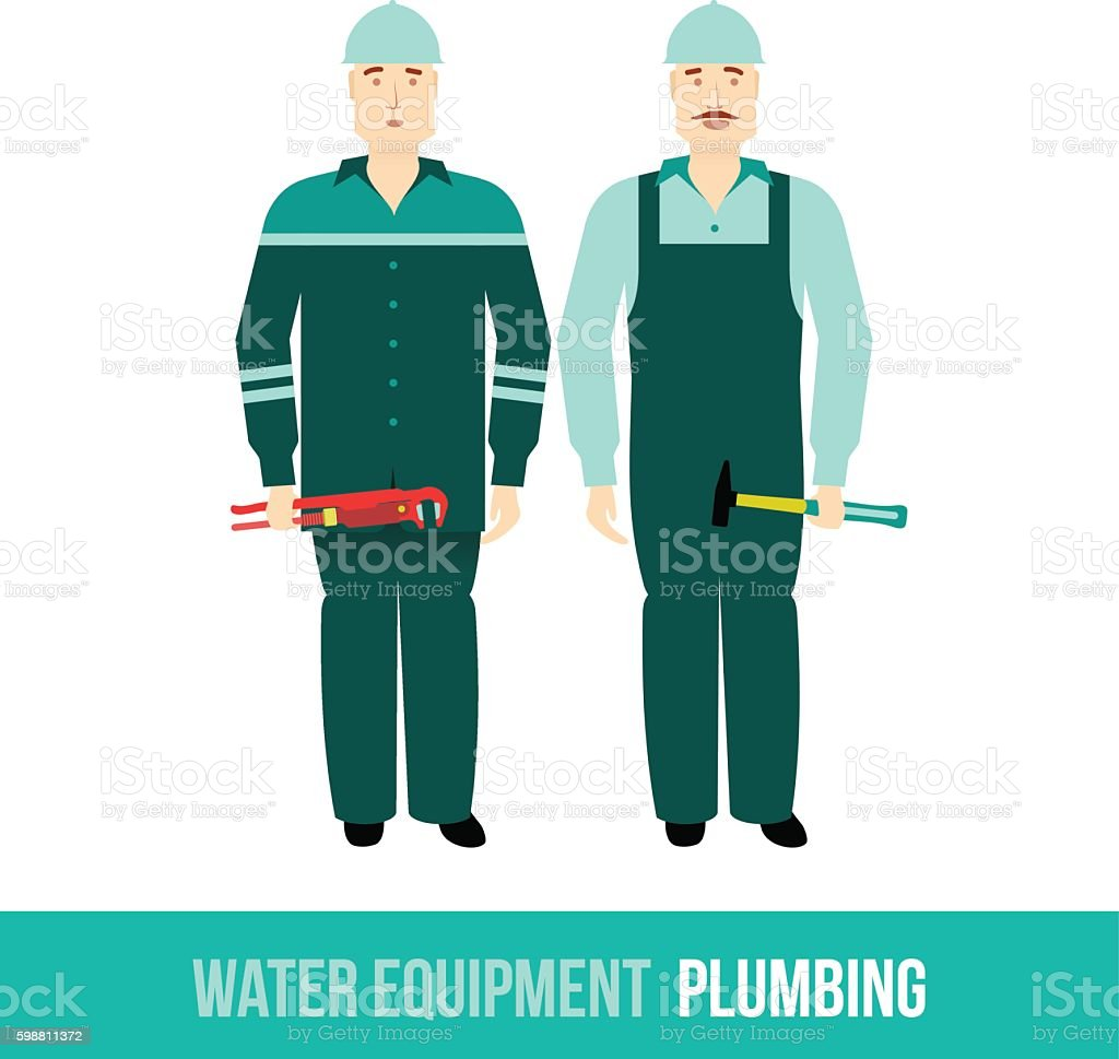 vector flat icon plumbing, along with tools vector art illustration
