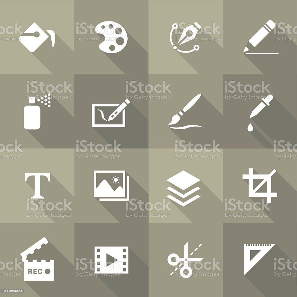 Vector Flat Icon Set - Design and Art vector art illustration