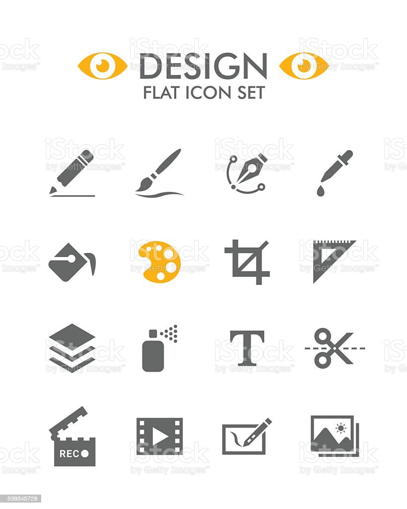 Vector Flat Icon Set - Design vector art illustration