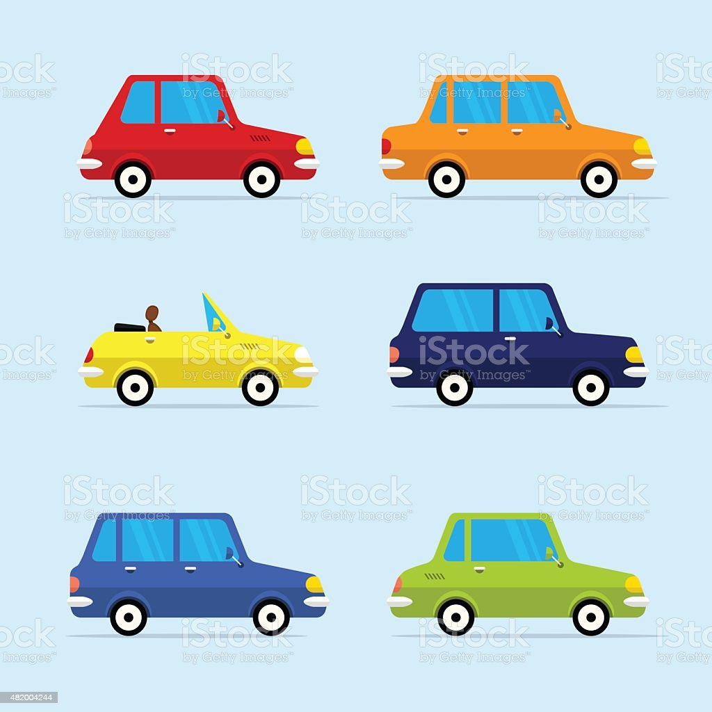 Vector Flat Icon Set of Modern Vehicles vector art illustration