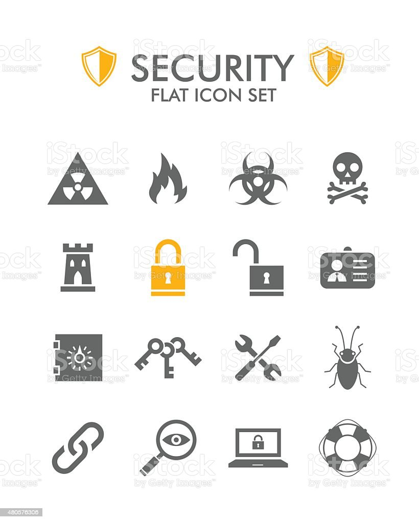 Vector Flat Icon Set - Security vector art illustration