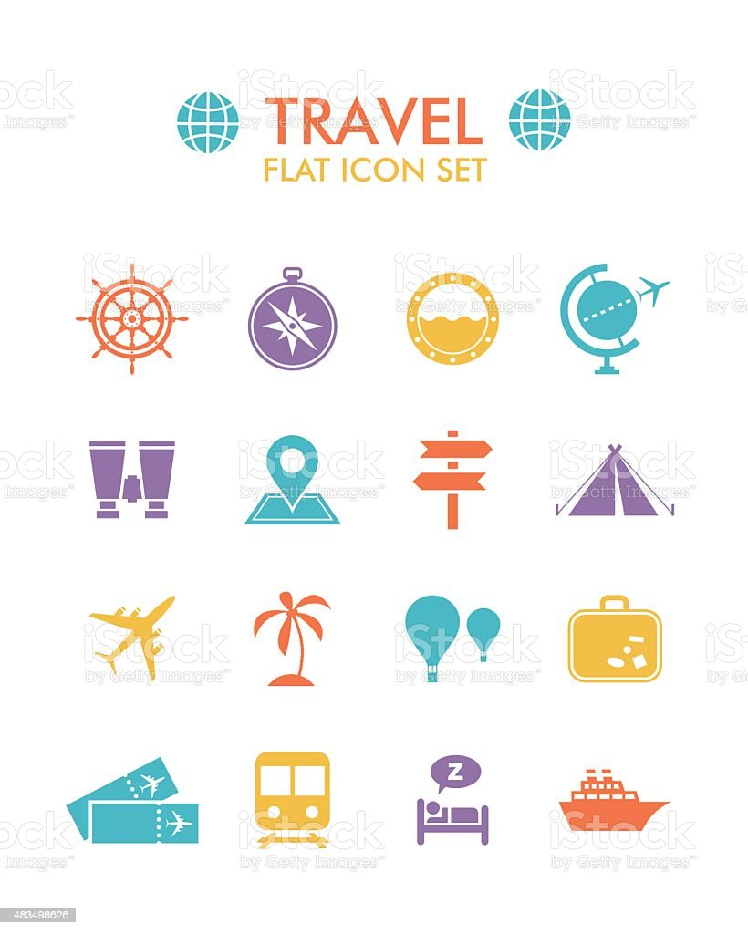 Vector Flat Icon Set - Travel vector art illustration