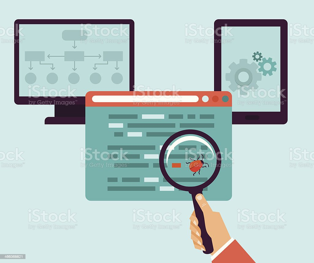 Vector flat icons - bug in the programming code vector art illustration