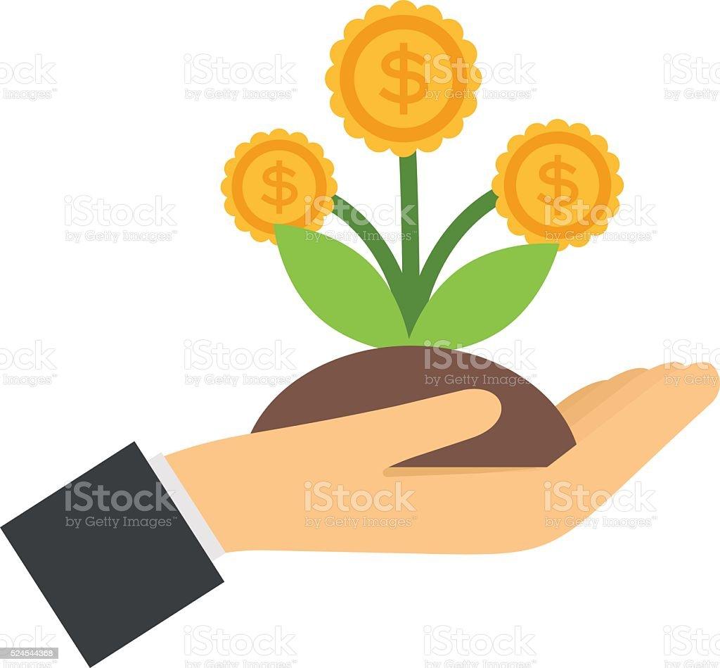 Vector flat icons design money flower dollar sign in hand vector art illustration
