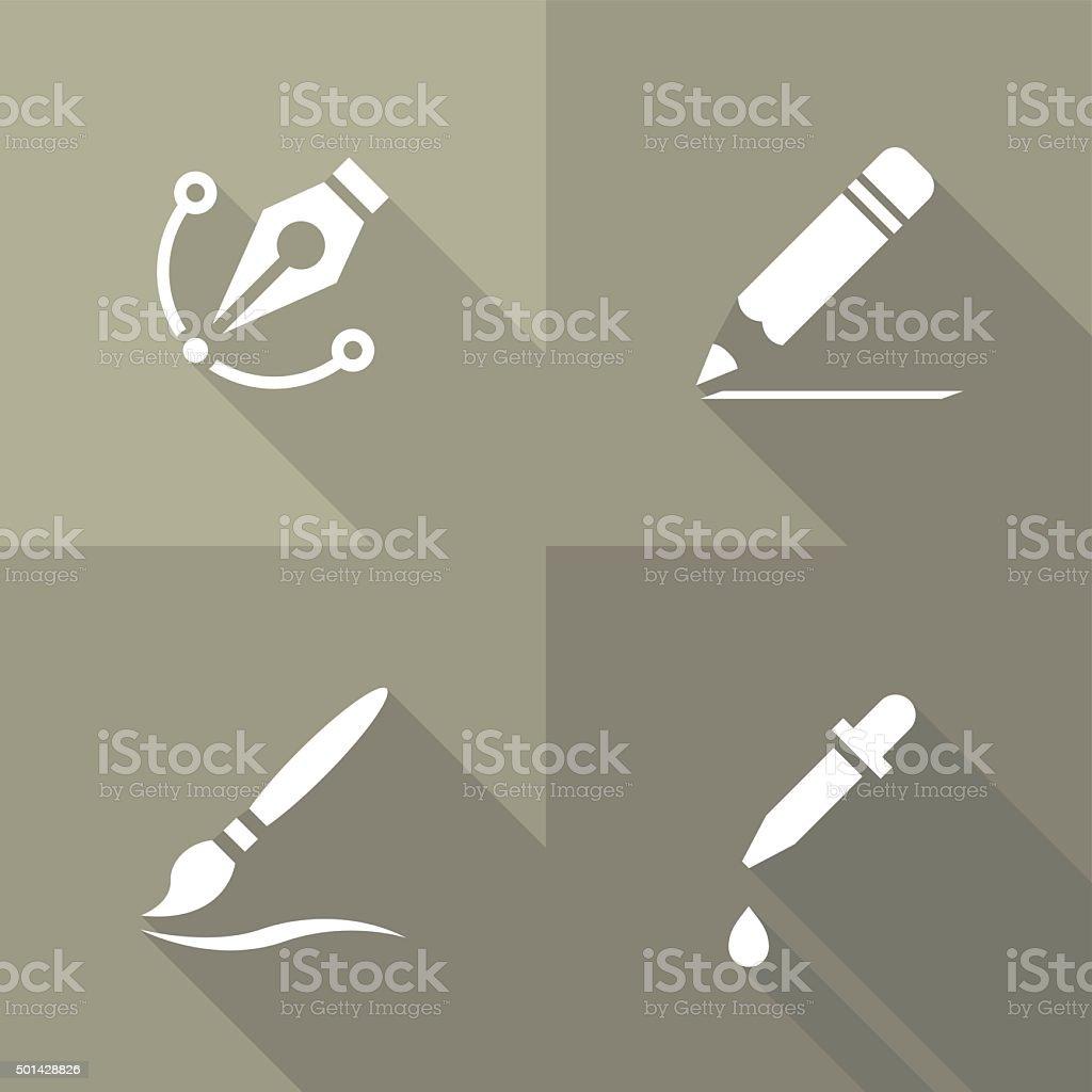 Vector Flat Icons - Drawing vector art illustration