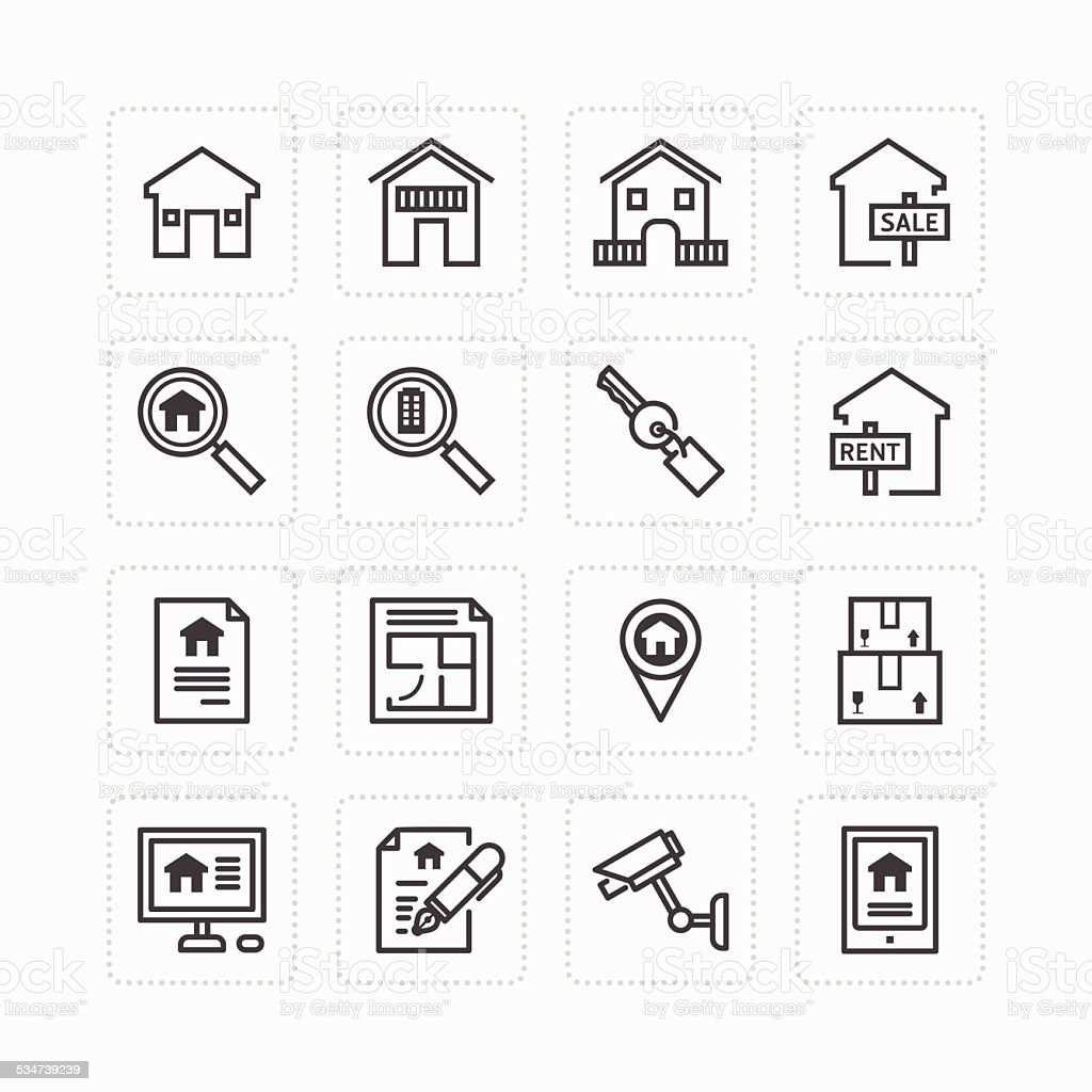 Vector flat icons set of real estate property outline concept. vector art illustration