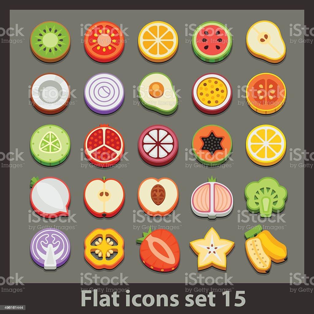 vector flat icon-set 15 vector art illustration