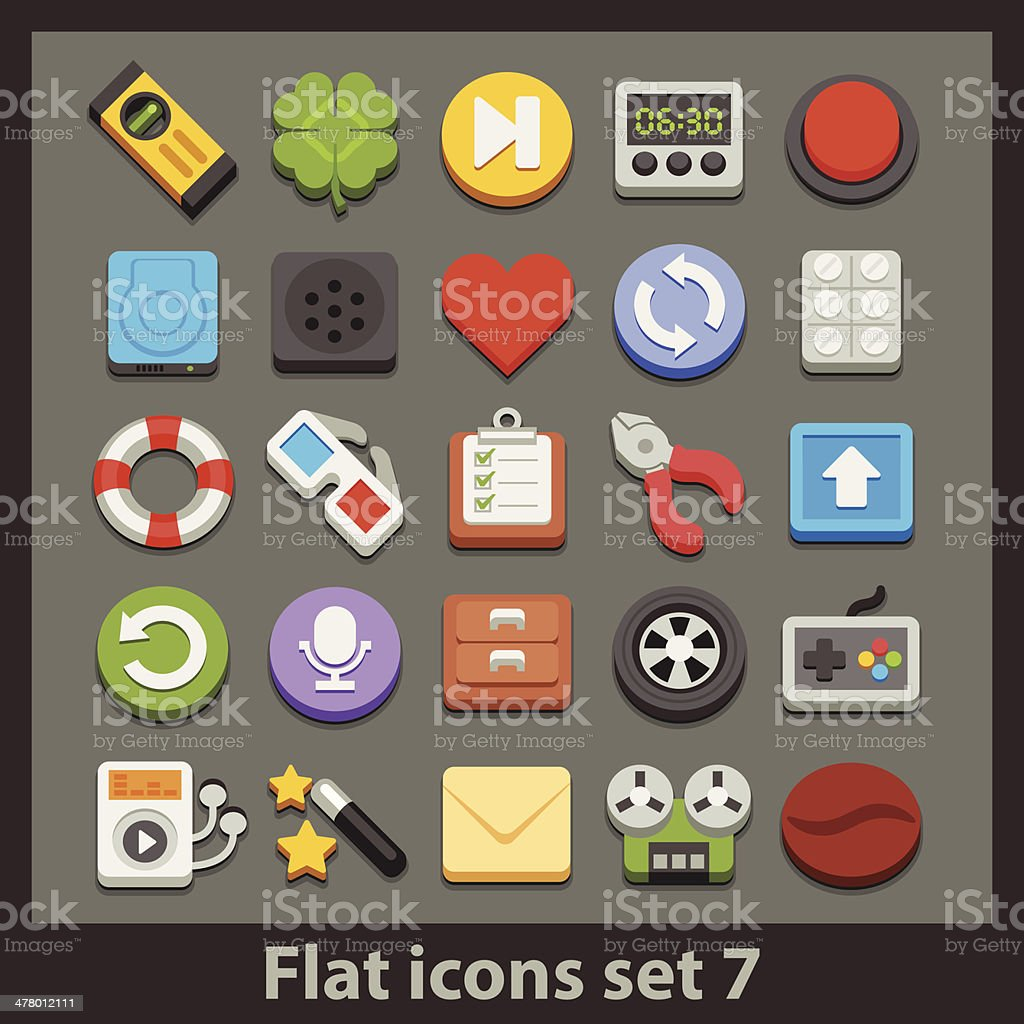 vector flat icon-set 7 royalty-free stock vector art