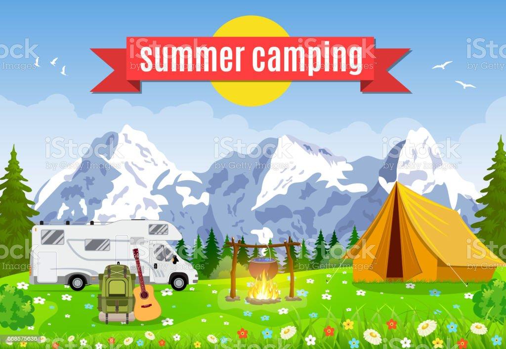 Vector flat illustration camping. vector art illustration