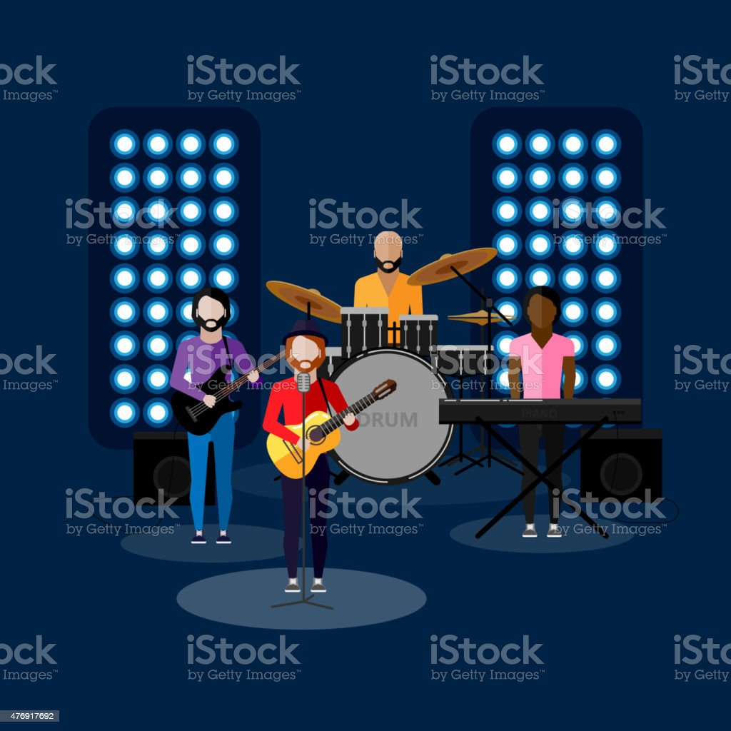 vector flat illustration of a music band on stage. performance vector art illustration