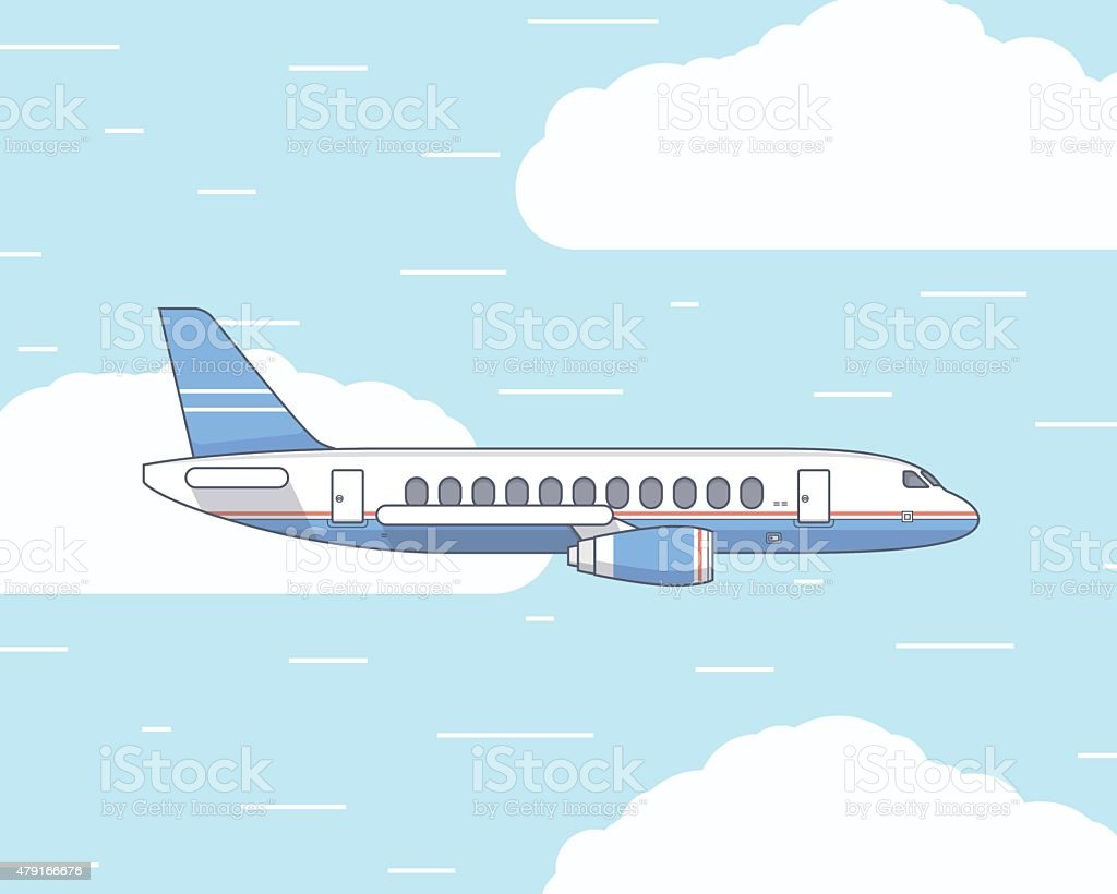 Vector flat illustration of a plane in the sky and vector art illustration