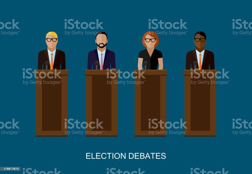 vector flat  illustration of a speakers. politicians. election debates vector art illustration