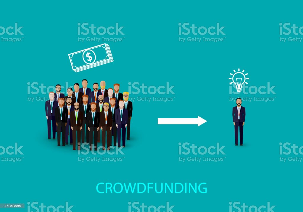 vector flat illustration of an infographic crowdfunding concept. vector art illustration