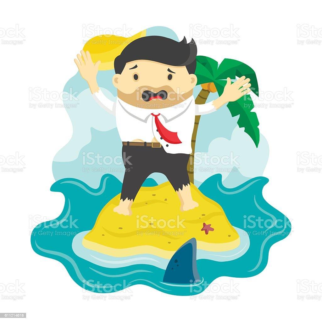 vector flat illustration of businessman stranded in an island vector art illustration