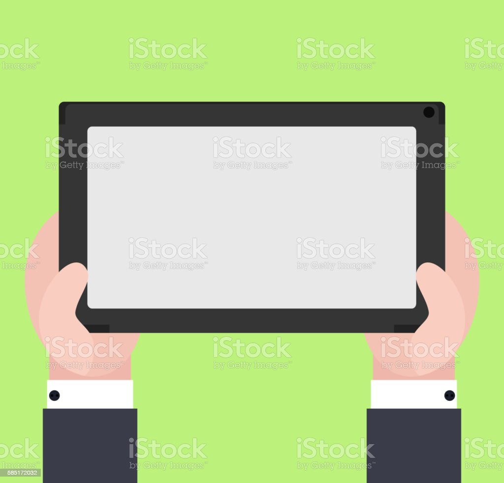 Vector flat illustration of human hands hold electronic tablet vector art illustration
