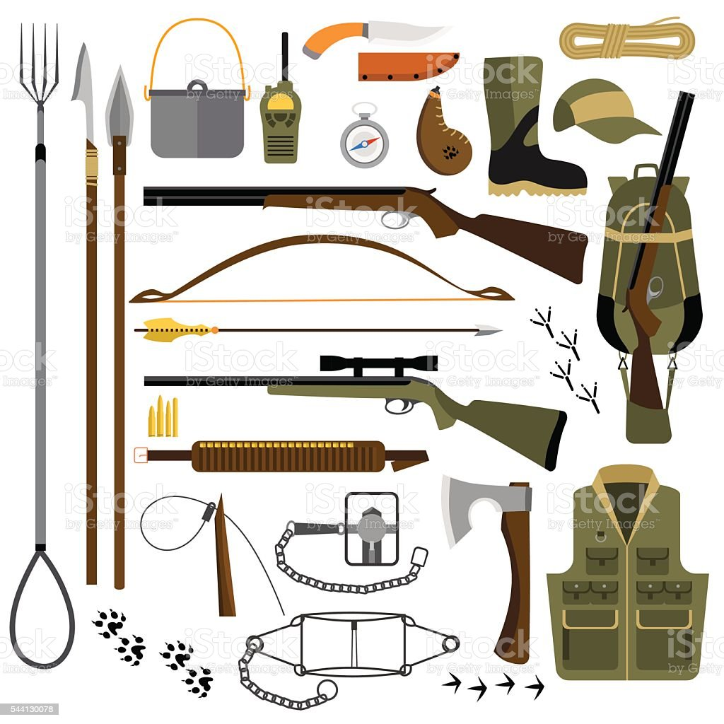Vector flat illustration of hunting gear and weapons vector art illustration