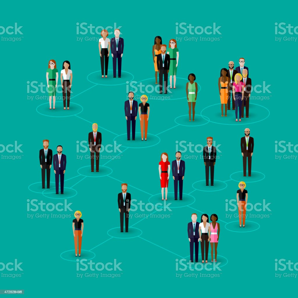 vector flat illustration of society members with  men and women. vector art illustration