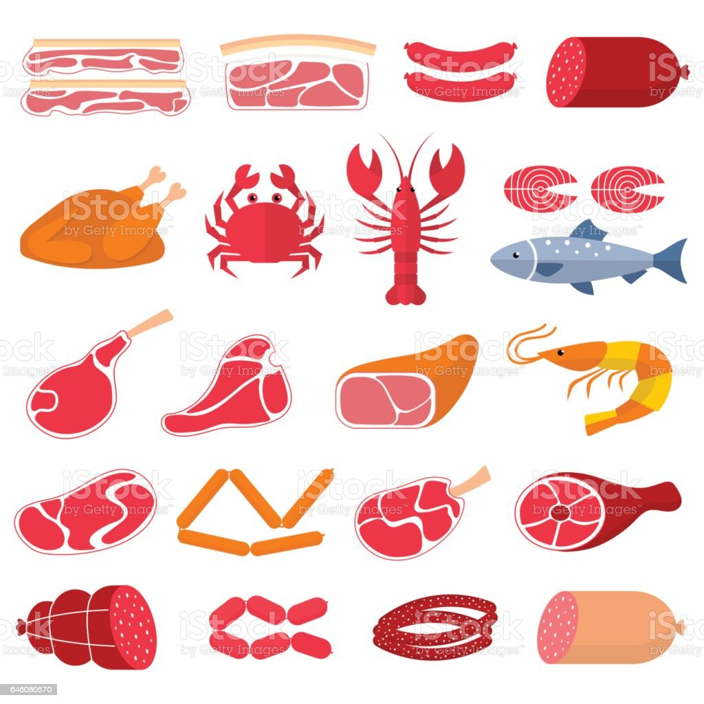 Vector flat illustration with different kinds of meat and fish vector art illustration