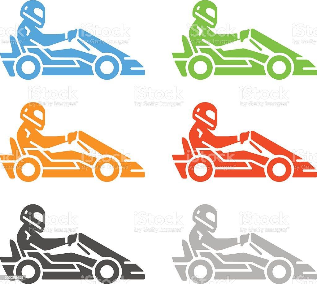 Vector flat karting logo and symbol. vector art illustration