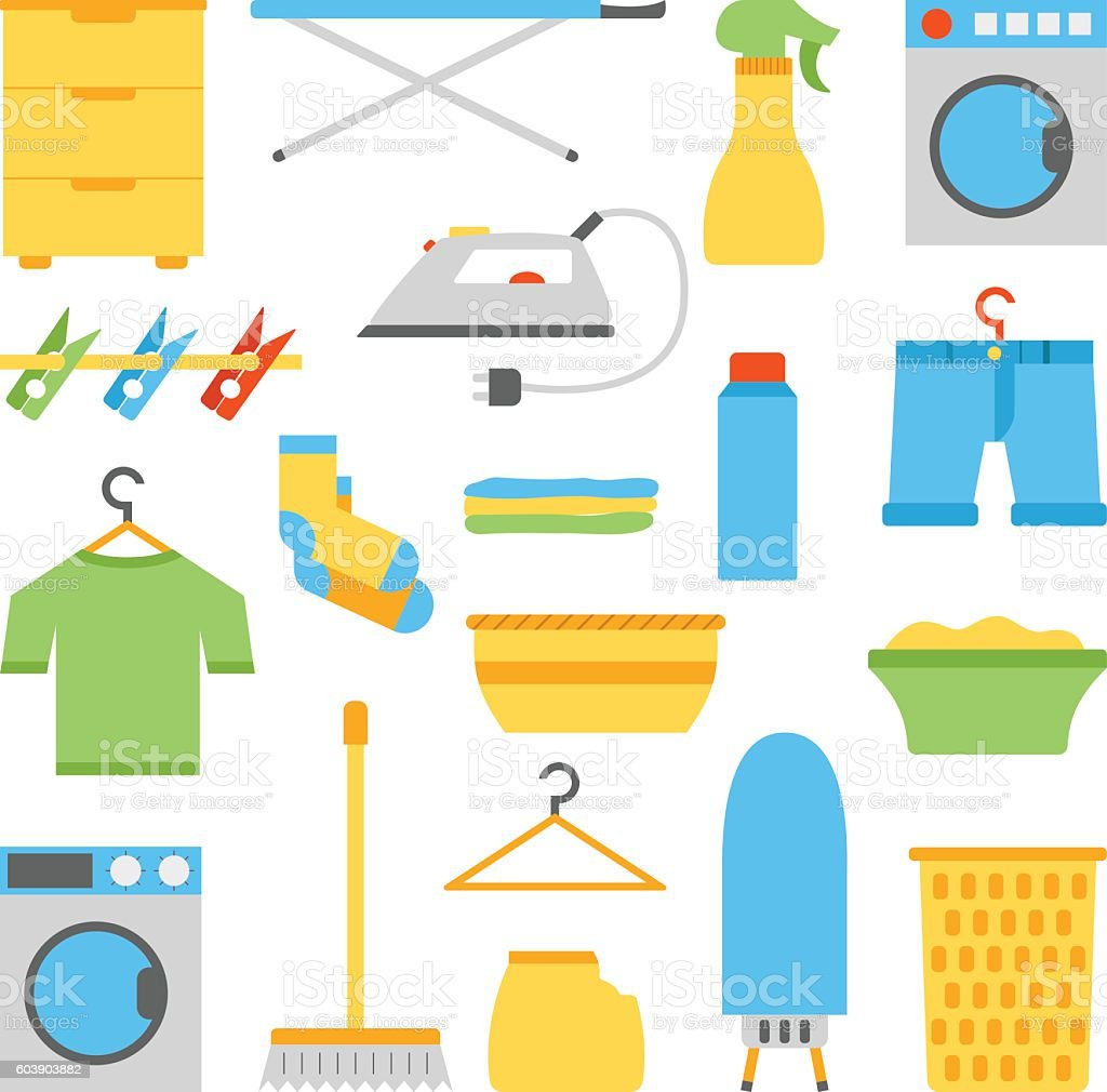 Vector flat laundry room objects vector art illustration