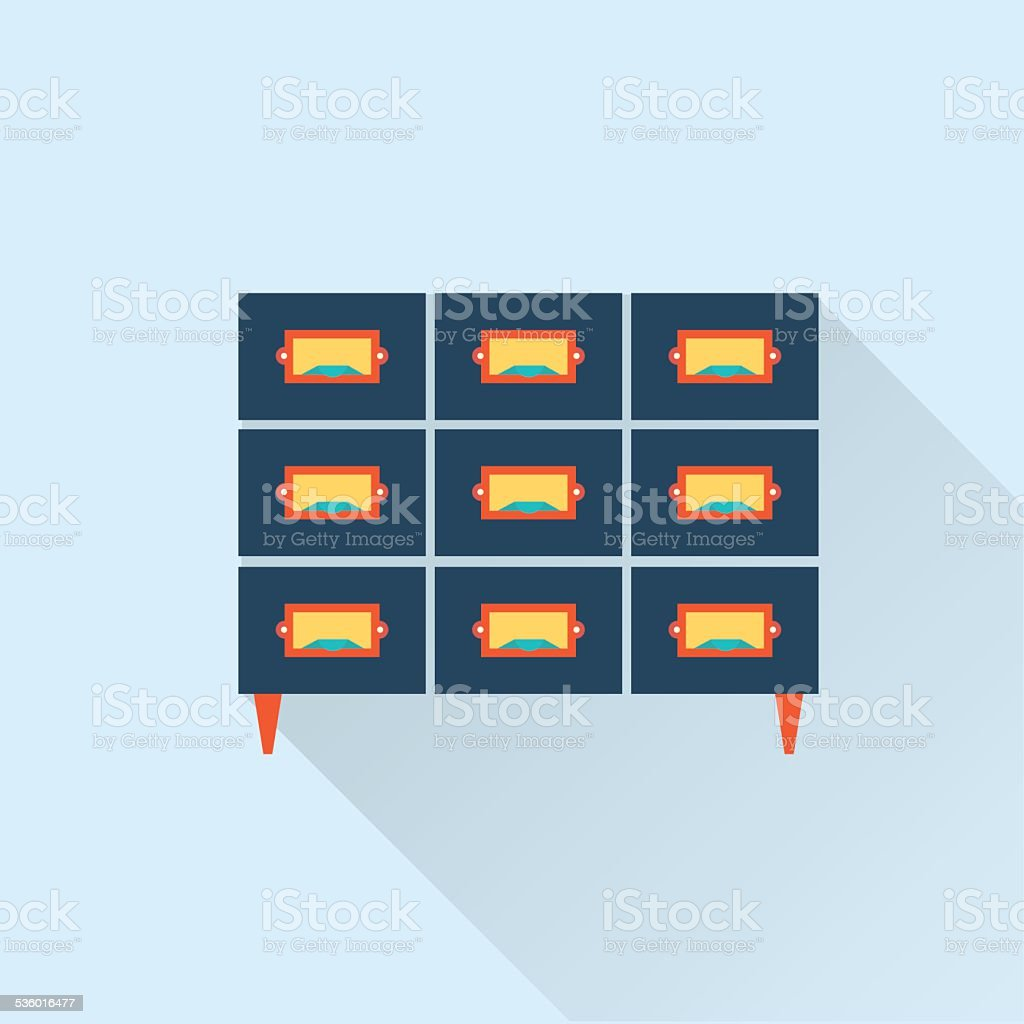 vector flat library card catalogue icon vector art illustration
