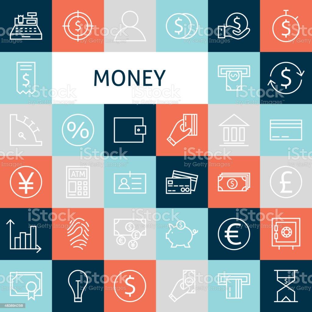 Vector Flat Line Art Modern Money and Finance Icons Set vector art illustration