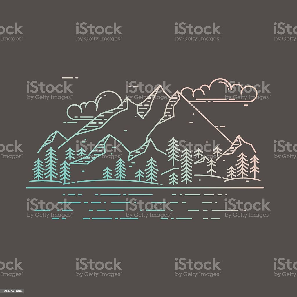 Vector flat linear landscape on dark background. vector art illustration