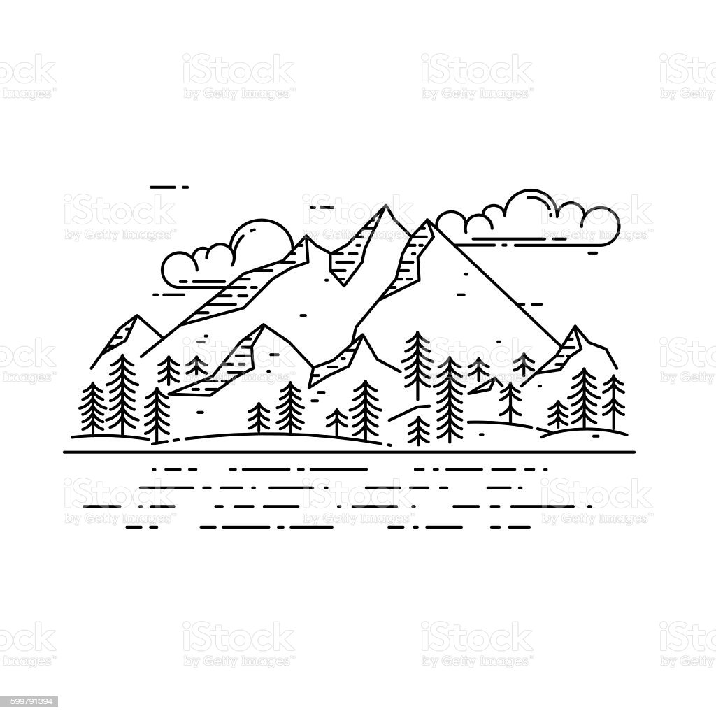 Vector flat linear landscape. vector art illustration