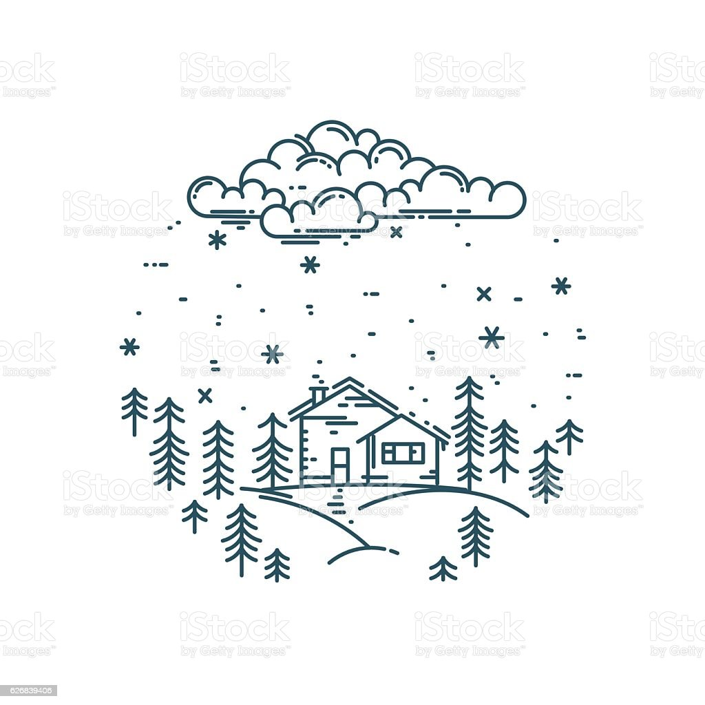Vector flat linear winter landscape in round composition. vector art illustration