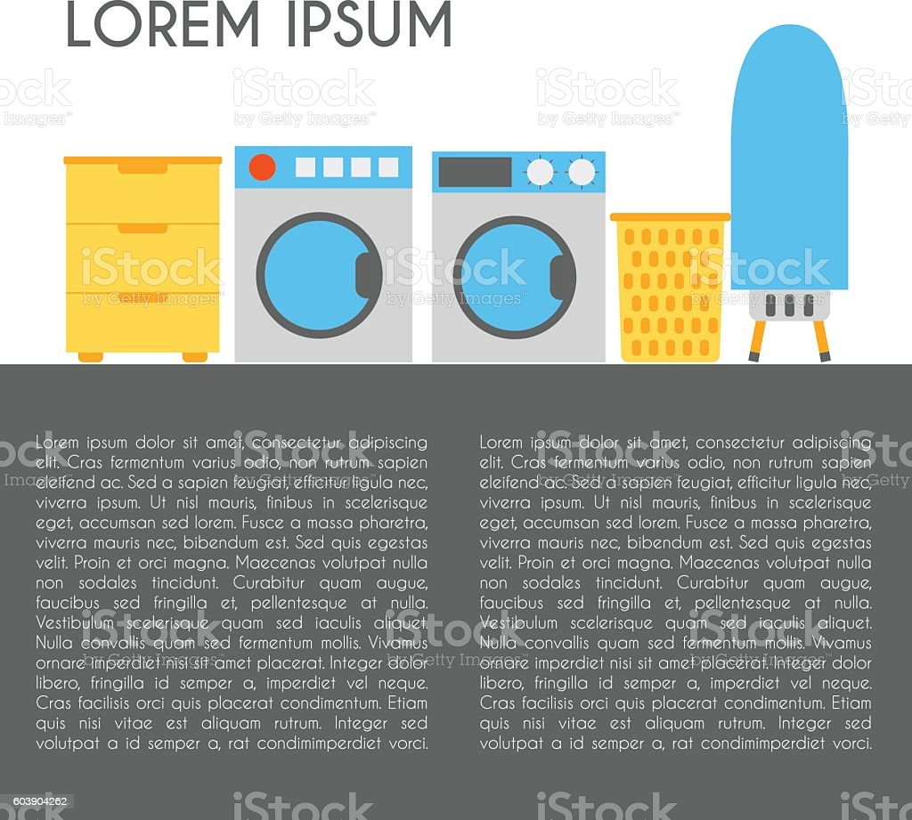 Vector flat luandry room: washing mashine, dryer vector art illustration