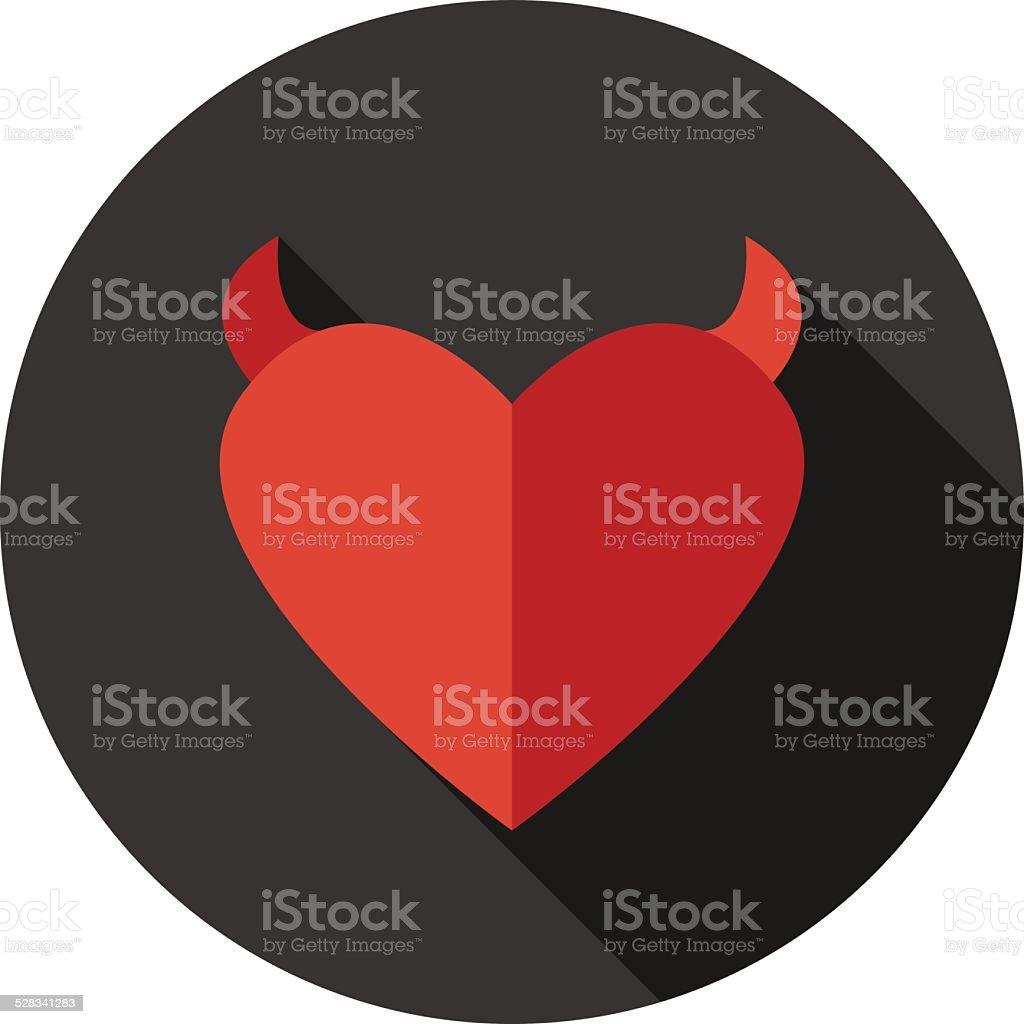 Vector flat modern round heart icon vector art illustration