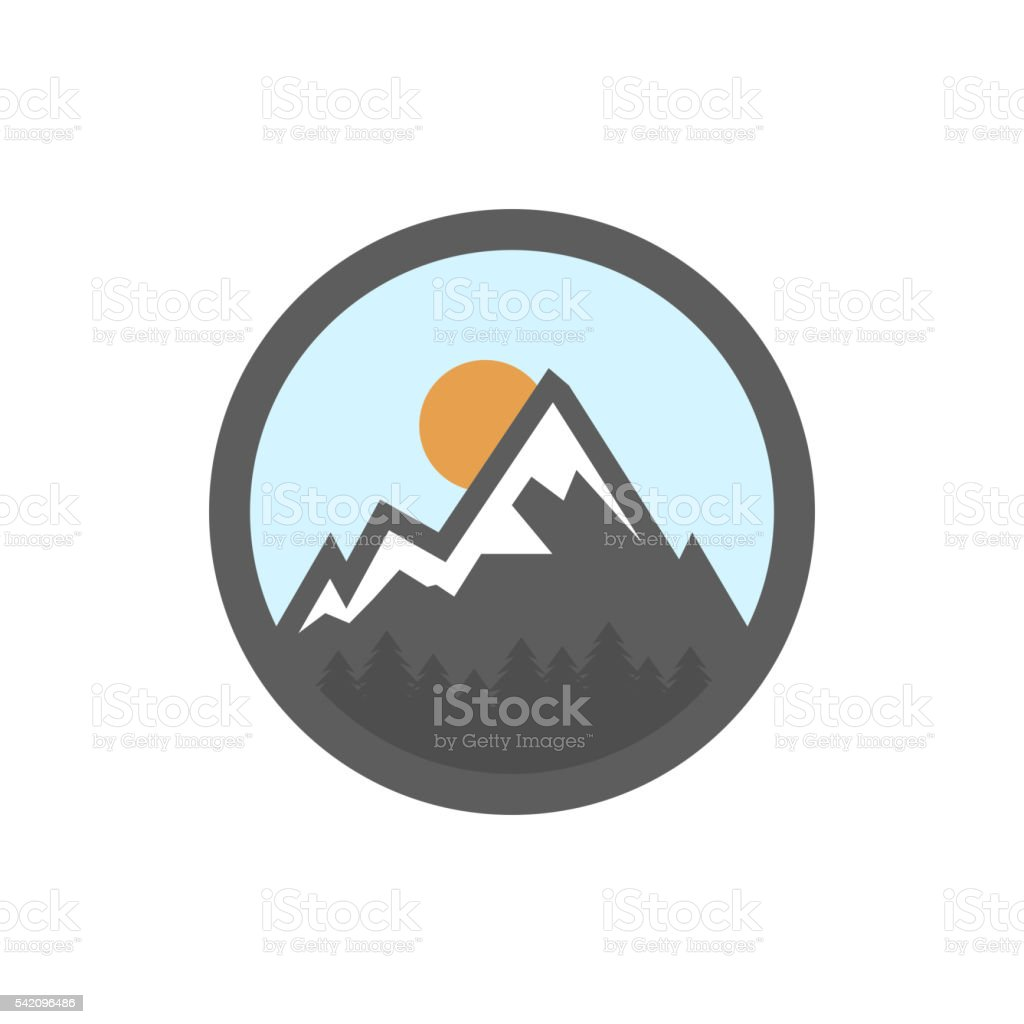 Vector flat mountain icon vector art illustration