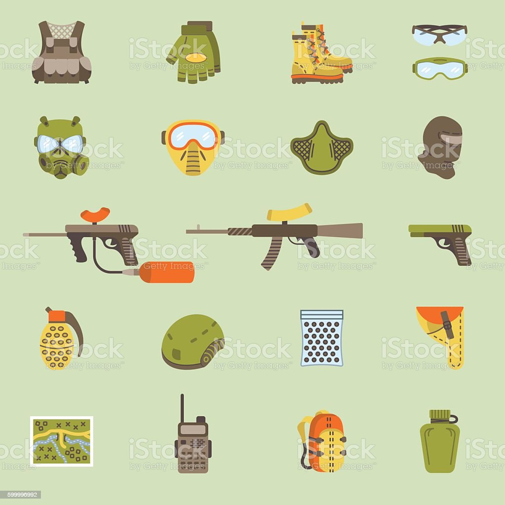 Vector flat paintball or airsoft icon set vector art illustration