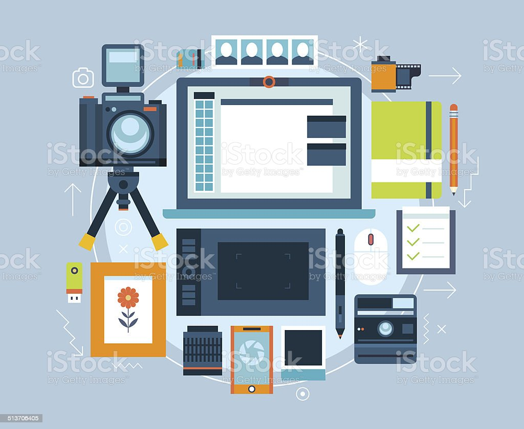 Vector flat photographer objects and elements. vector art illustration