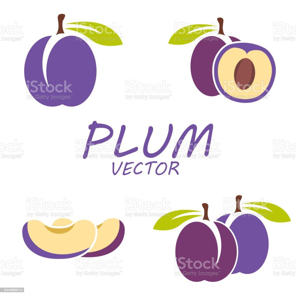 Vector flat plum icons set vector art illustration
