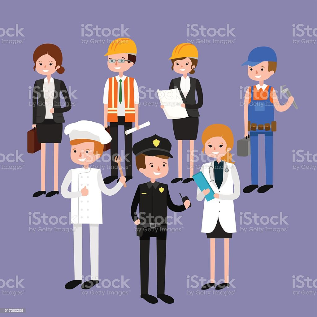 Vector flat profession character. profession people uniform, cartoon...