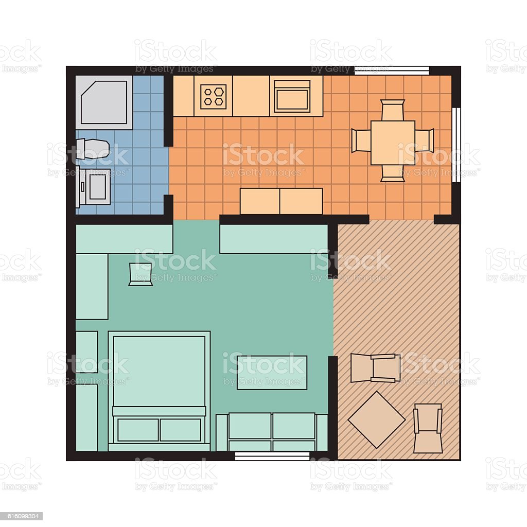 House plan with furniture - Vector Flat Projection Apartment Small House Plan With Furniture Royalty Free Stock Vector