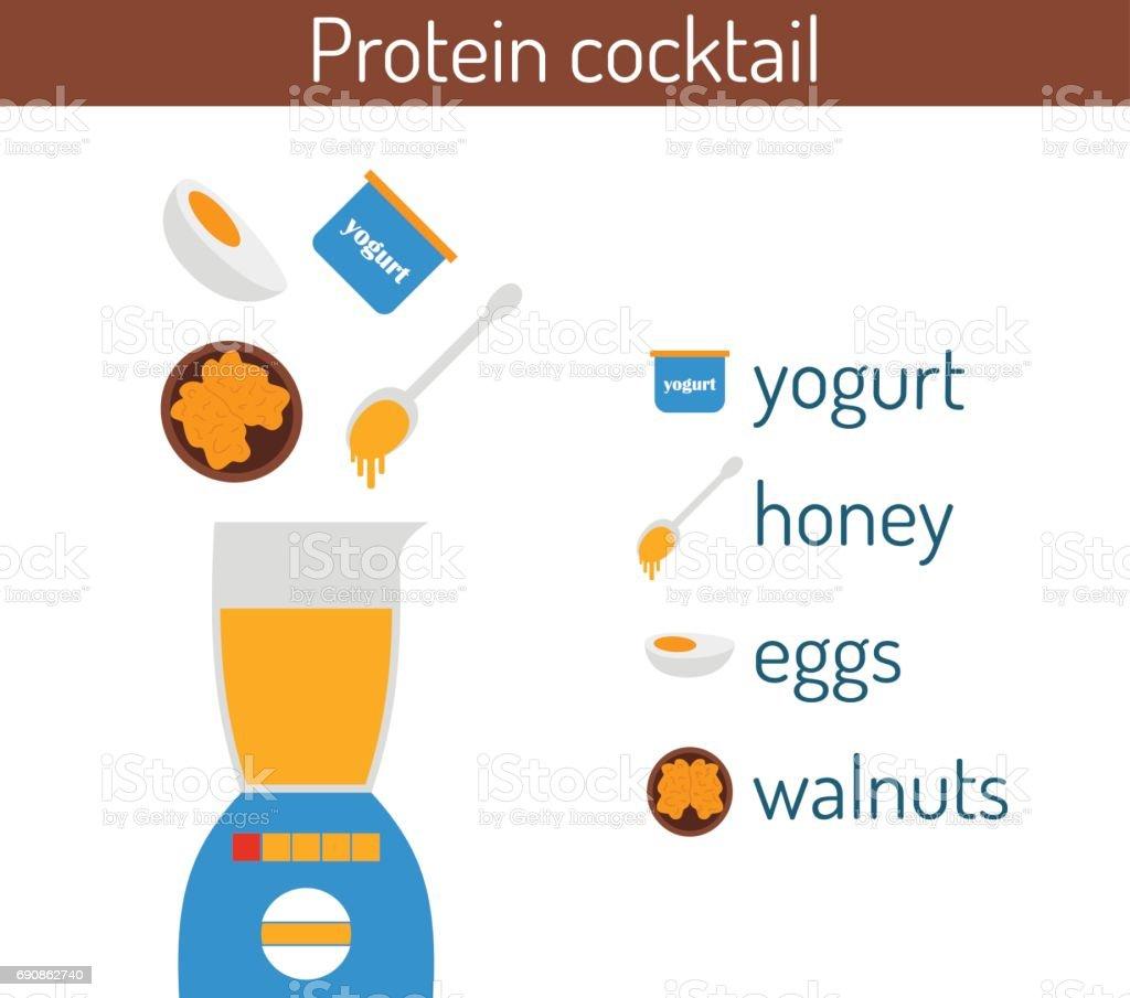 Vector flat protein cocktail ingredients recipe vector art illustration