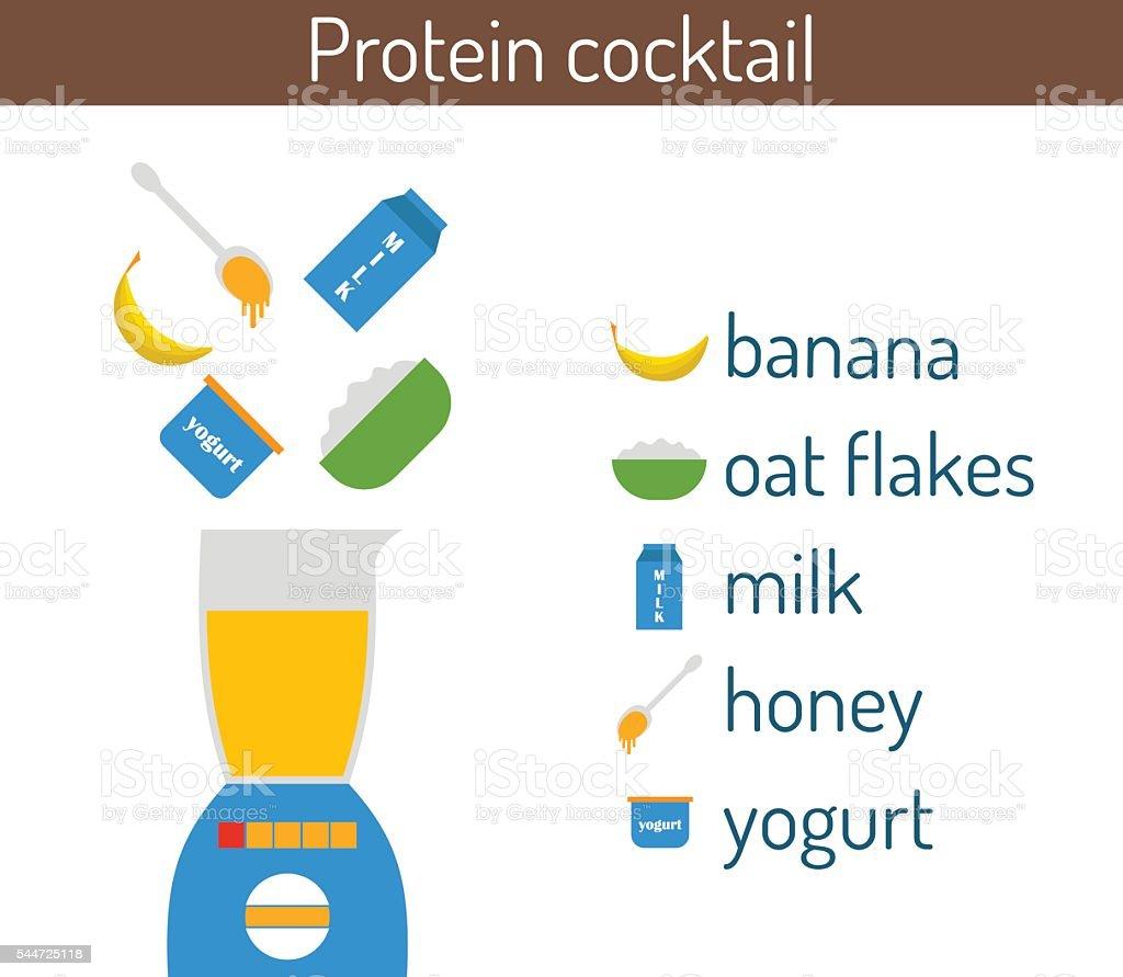 Vector flat protein cocktail recipe vector art illustration