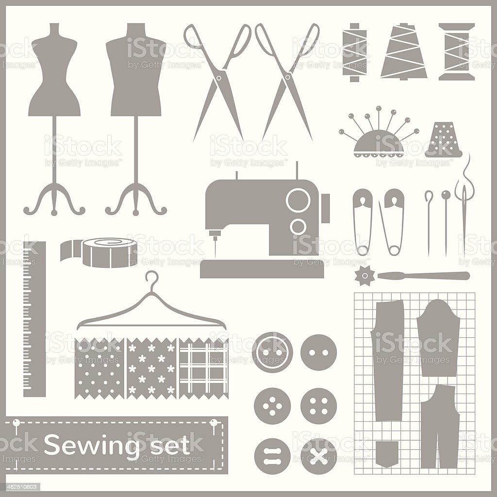 Vector flat sewing icons set vector art illustration