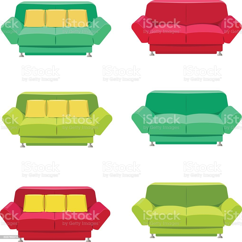 Vector flat sofa icons set. vector art illustration