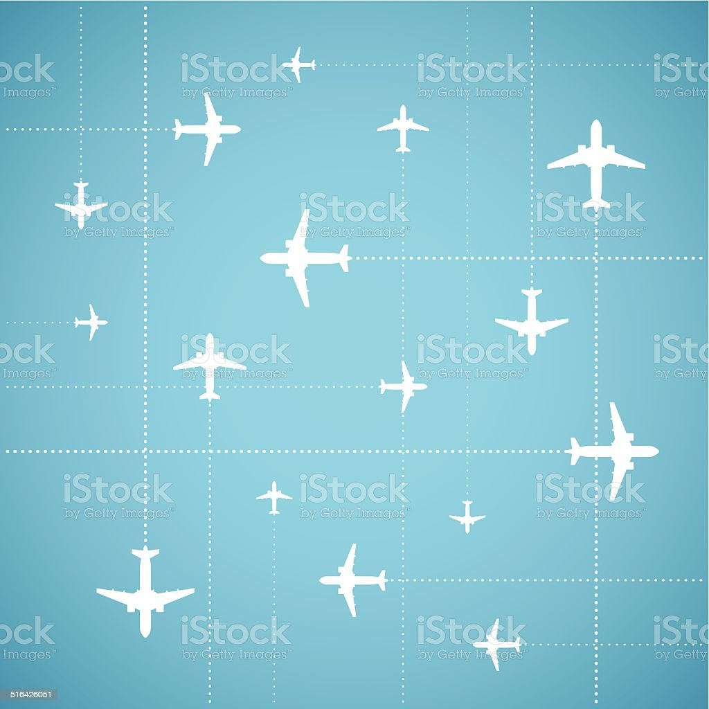Vector flat style air travel background vector art illustration