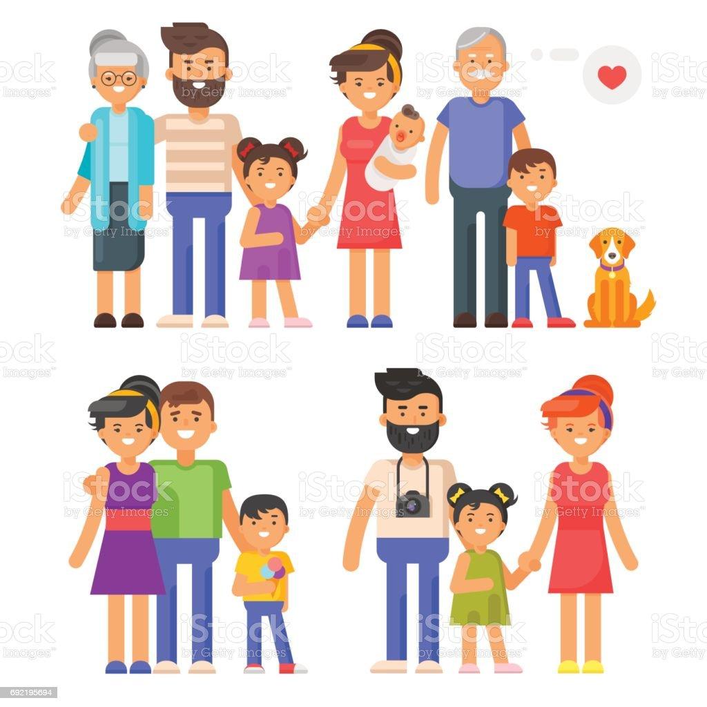 Vector flat style family set. Parents, grandparents, kids vector art illustration