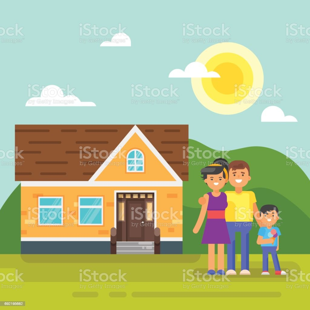 Vector flat style illustration of house with happy family. vector art illustration