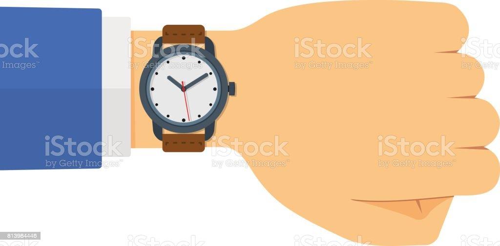 Vector Flat Style Illustration of Watch on the Hand vector art illustration