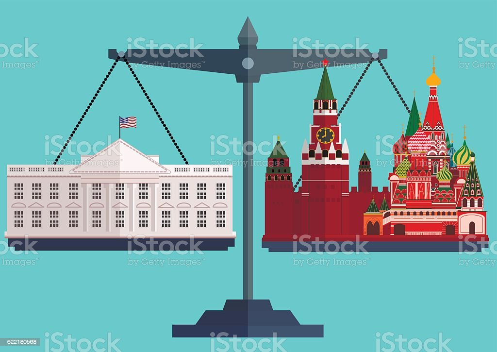 Vector flat style scales. The White House Washington on one vector art illustration