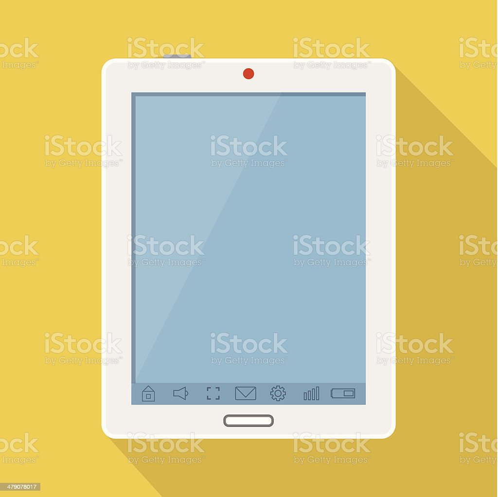 Vector flat tablet with long shadow royalty-free stock vector art