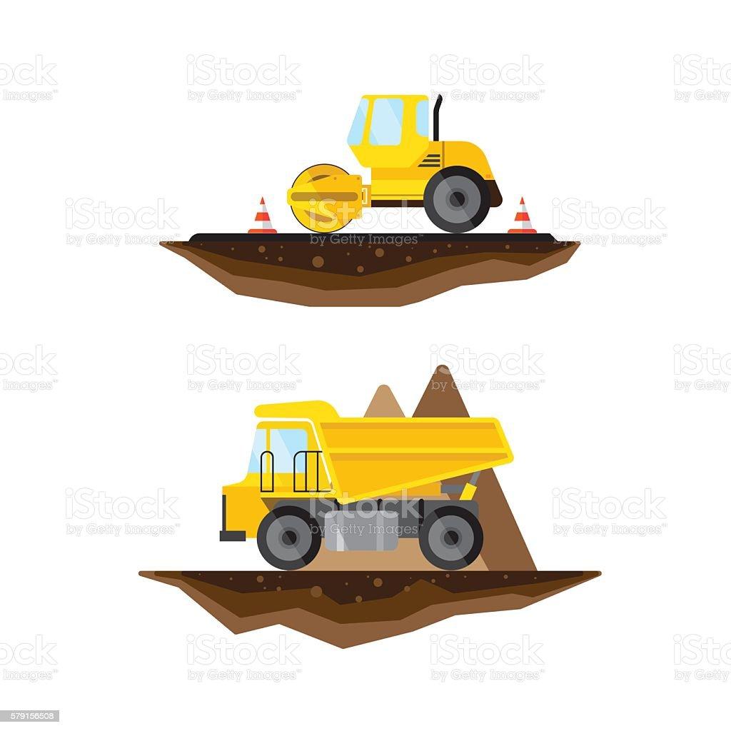 Vector flat truck and asphalt vector art illustration